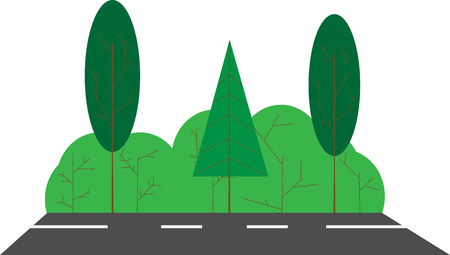 Summer landscape, road with trees and bushes. Flat image