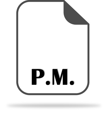 The abbreviation P.M. on the document icon - from noon to midnight Illustration