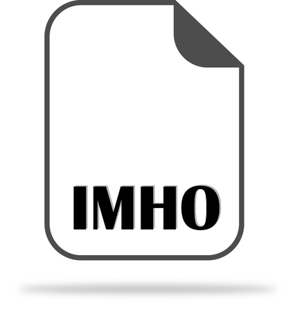 Slang reduction of IMHO on the document icon. Used to communicate on the Internet