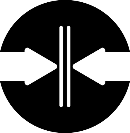 Two arrows are directed towards each other