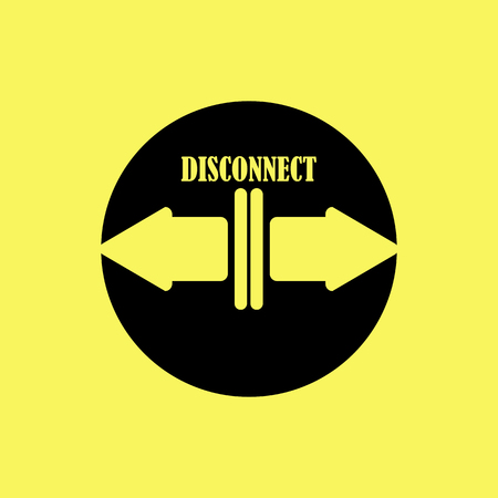 icon with two arrows and the word disconnect Ilustrace