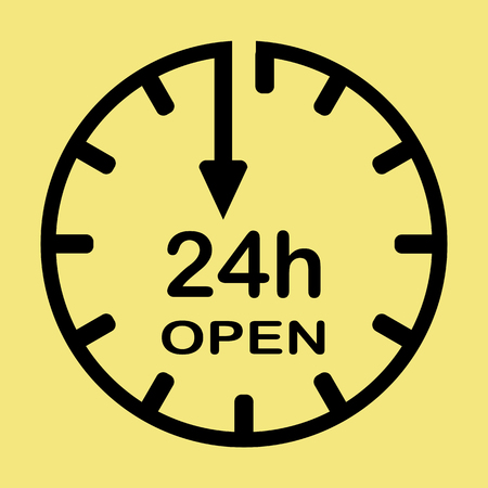 Vector icon 24 h open on a yellow background
