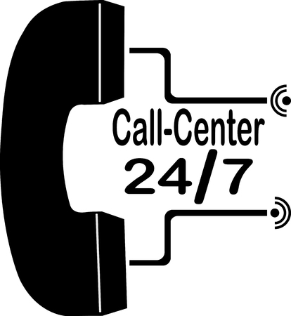 Handset and working hours of the call center, 24/7 Vectores