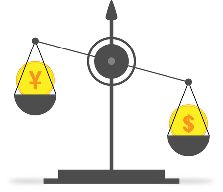 On the scales, a coin with a dollar symbol outweighs a coin with the symbol of the yuan