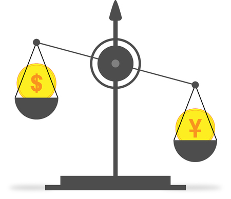 On the scales, the coin with the symbol of the yuan outweighs the coin with the dollar symbol