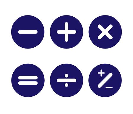 Icono, los signos aritméticos básicos en los botones redondos son azules