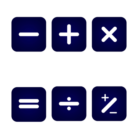 Icon, basic arithmetic signs on the round buttons are blue