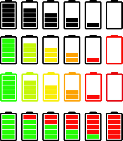 Several types of icons indicating the degree of charge of the battery Illustration