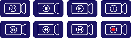 Rectangular blue button to indicate video device functions Vettoriali