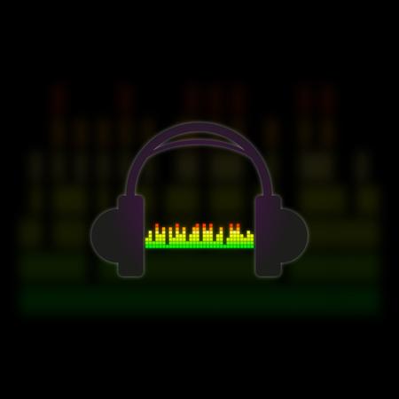 Headphones with audio visual spectrum on a dark background