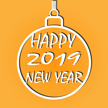 Inscription Happy new year 2019 inside the contour of the Christmas ball