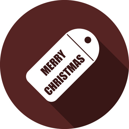 Icon of the token with the inscription Happy Christmas. Flat white image with a long shadow