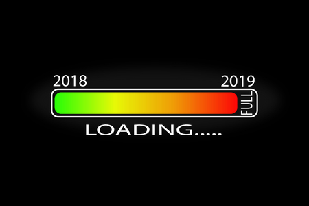 Graphic loading scale new 2019 on black background, vector image