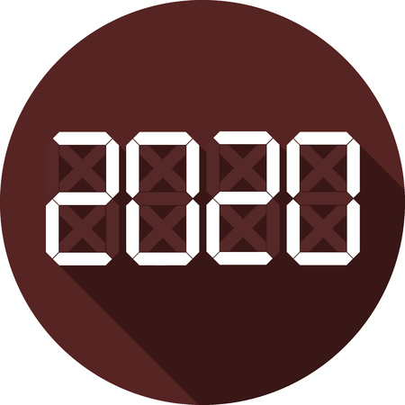 Icon with the designation of 2020. White flat number with long shadow