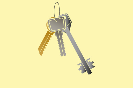 Three different metal keys hanging on the ring on yellow background Illustration
