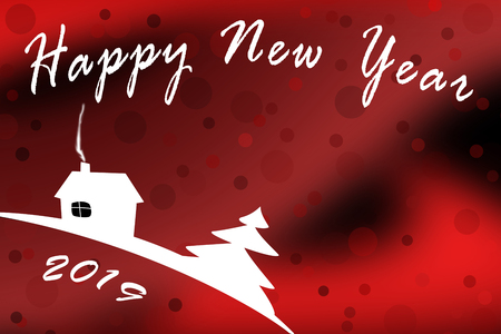 Template for greetings happy New year 2019 with a red tinted background