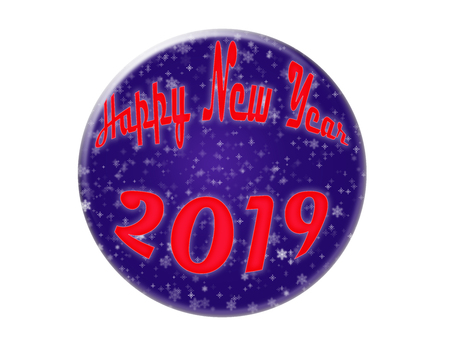 Blue circle with a congratulation of the New Year 2019, illustration