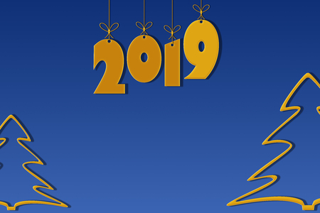 Template for creating congratulations with the New Year 2019. Blue background with place for inscription and gold numbers 2019