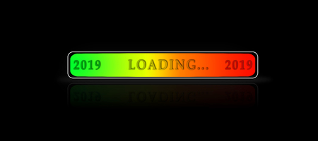 Graphical download scale for 2019 on a black background with reflection Stock Photo