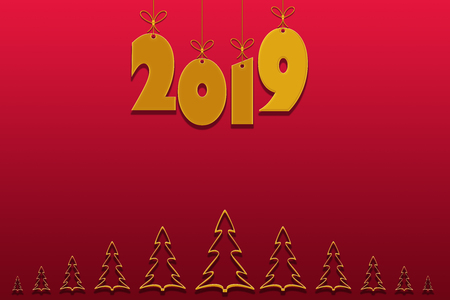 Template for creating congratulations with the New Year 2019. Gradient red background, place for inscription and gold numbers 2019