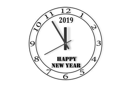 The dial of the watch with the number 2019 and the words happy NEW YEAR, white background
