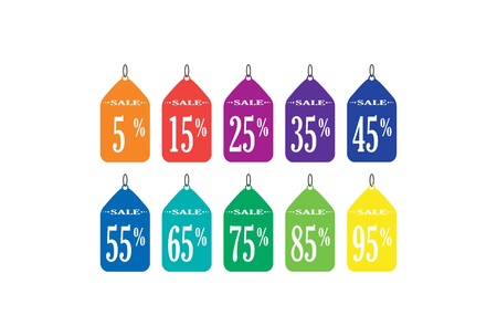 A set of flat icons with an inscription of sale and a numerical value of discounts Illustration