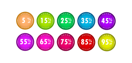 A set of flat gradient icons with an inscription promo stock and a numerical value of discounts