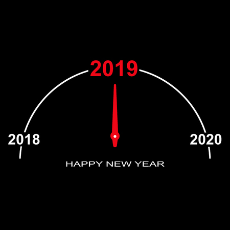 On a black background, the imitation of a dial gauge with numbers 2018, 2019 and 2020 Illustration