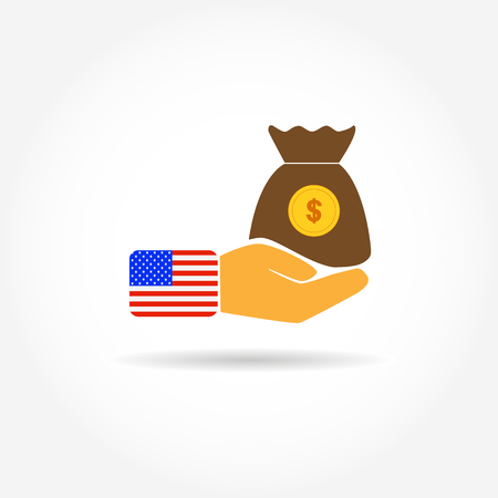 Colored icon with a hand and a bag of money with a dollar symbol and a us flag Çizim