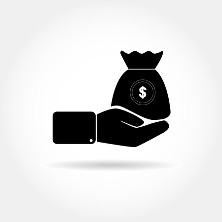 Icon with a hand and a bag of money with a dollar symbol
