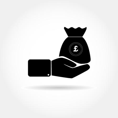 Icono con una mano y una bolsa de dinero con el símbolo de la libra esterlina Ilustración de vector
