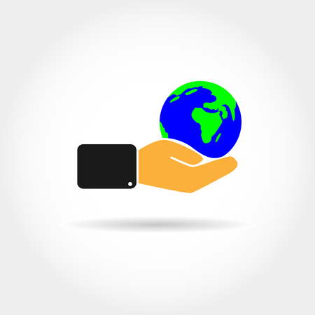 Flat color icon with the image of a hand holding the globe