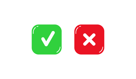 Green and red square buttons with plus and minus signs