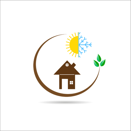 Flat logo with the image of the house, snowflakes with the sun and a branch with green leaves Ilustracja