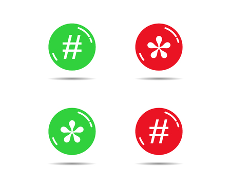 Green and red buttons with asterisks and bars Stock Illustratie