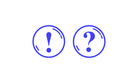 Two blue round contours with question and exclamation marks