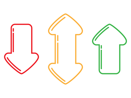 Outlines of red, green and yellow arrows up, down and double in different directions