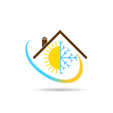 Flat logo with the image of the house, the sun with a snowflake and a gradient semicircle,