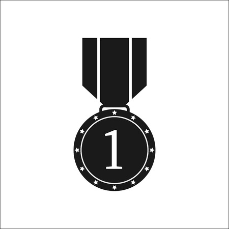 Black-and-white icon of a medal with the number one, flat image
