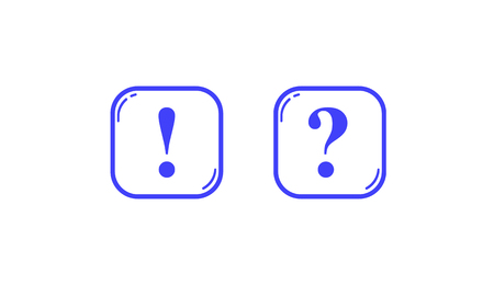 Two blue square outlines with question and exclamation marks
