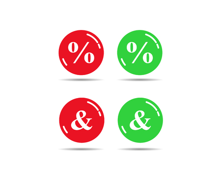 Green and red buttons with percent and ampersand signs