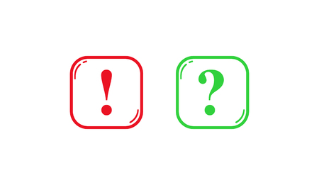 Green and red square outlines with question and exclamation marks Stock Illustratie