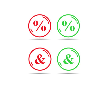 Green and red outline of a circle with the signs of the percentage and ampersand Illustration