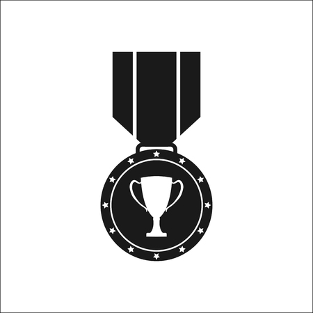 Black-and-white icon of a medal with the image of the Cup, a flat image