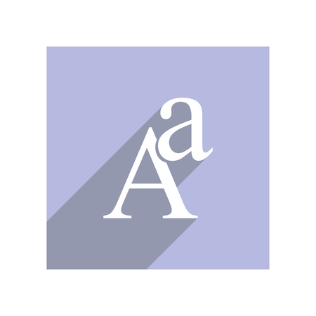 Flat icon with lowercase and uppercase A for apps and websites, long shadow Ilustrace