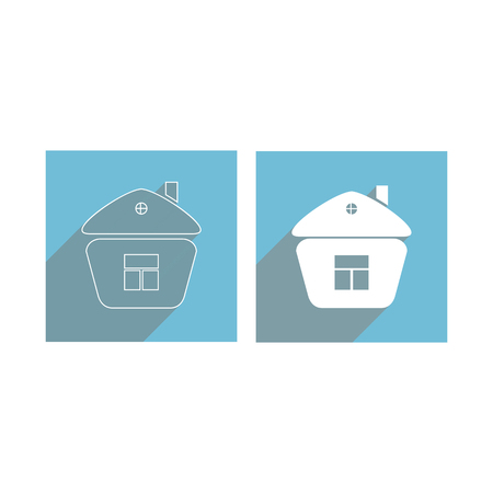 Flat icons of silhouette and contour houses with a window for websites and applications, long shadow Ilustrace