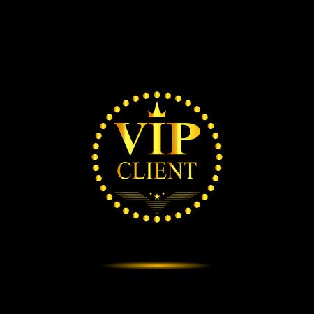 Gold inscription VIP client on black background