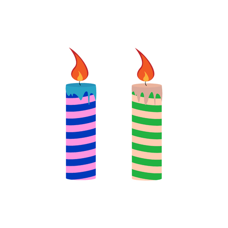 Two multi-colored festive candles with smudges of wax