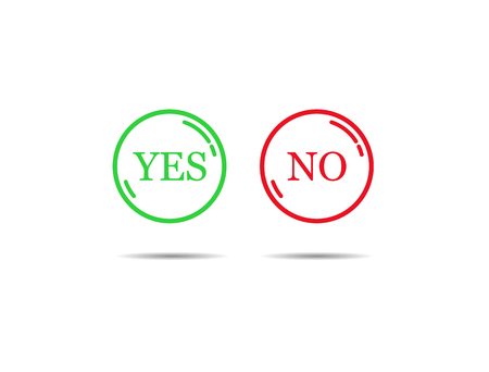 Green and red contour buttons with the words YES and NO Archivio Fotografico - 109674386