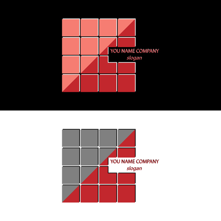 A large square of many squares divided diagonally in different colors. Company logo.